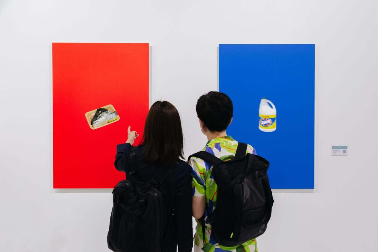 "From left to right: Hu Qiren, ""#4, A Grocer's Essentials"", ""#5, A Grocer's Essentials"", 2020, Archival pigment print on aluminum composite panel, Edition 1 of 3, 118.9 x 78.9 cm. Presented by RIchard Koh Fine Art. Photo by Toni Cuhadi, courtesy of S.E.A. Focus, Singapore"